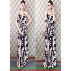 Đầm dạ hội thiết kế 2 dây họa tiết hoa trẻ trung và xẻ đùi quyến rũ