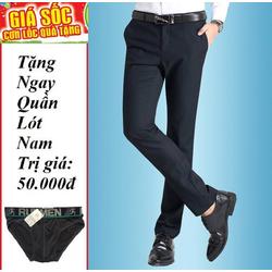 Quần Tây Nam Thời Trang-Màu Xanh Đen-Tặng quần lót nam