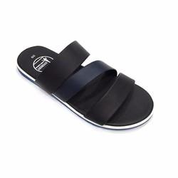 Dép sandal nam màu đen sọc xanh 3 quai ngang thời trang