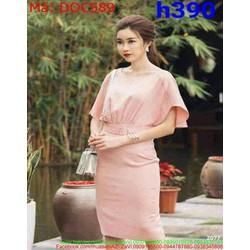 Đầm ôm dự tiệc tay cánh dơi màu hồng dễ thương DOC589