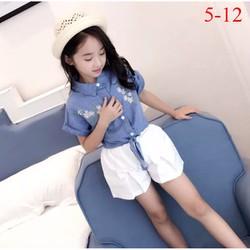 Set áo jean thêu hoa cột tà phối quần kaki thun cho bé 16-40kg
