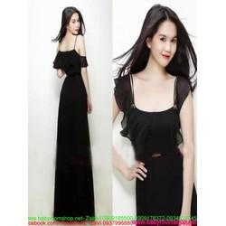 Đầm dạ hội phối lưới màu đen sang trọng và quý phái