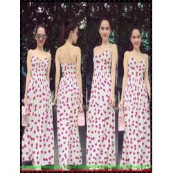 Đầm maxi 2 dây họa tiết hoa đào xinh đẹp như Ngọc trinh