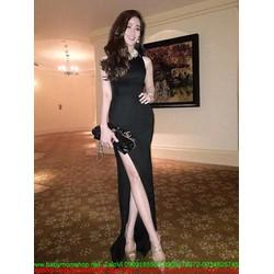 Đầm dự tiệc maxi xẻ đùi quyến rũ màu đen quý phái