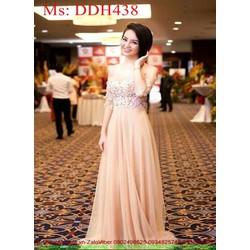 Đầm maxi hồng dự tiệc vải ren hoa nổi sang trọng xinh đẹp