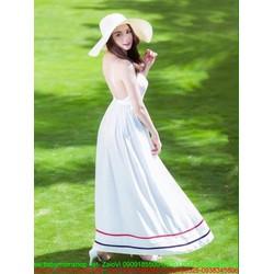 Đầm maxi 2 dây trắng trẻ trung và hở lưng sexy
