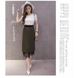 Chân Váy Midi Korea Mặc 2 Kiểu