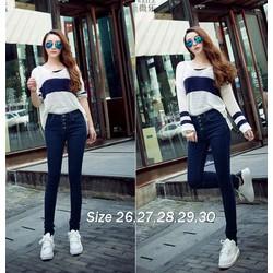 Quần jean xanh lưng cao 4 nút xinh xắn VQ154 - V150