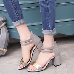 Sandal nữ 7cm đế vuông màu ghi