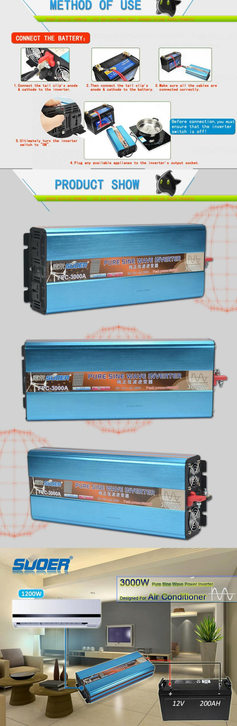 Suoer DC 12V to AC 220V 3000W Pure Sine Wave Inverter (FPC-3000A)