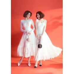 Đầm ren trắng dự tiệc thiết kế