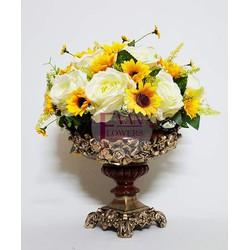 Bình hoa trang trí nhà cửa,...bằng hoa lụa, hoa vải cao cấp - HB076