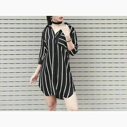 Đầm đầm suông sơ mi đen sọc trắng tay dài