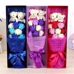 Hộp hoa sáp 9 bông 2 gấu