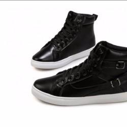 giày boot nam đen trắng da thời trang cao cấp