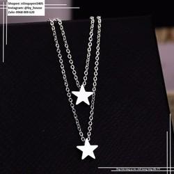 Dây chuyền inox ngôi sao khối 2 tầng