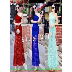 Đầm dạ hội lẹch vai sành điệu chất liệu ren hoa cao cấp