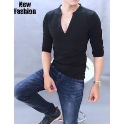 áo thun tay dài M - đen