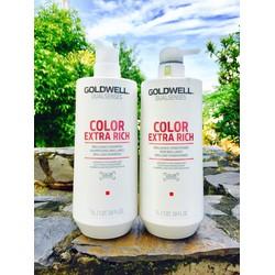 Cặp gội xả GOLDWELL Color Extra Rich 1000ml chăm sóc cho mái tóc nhuộm