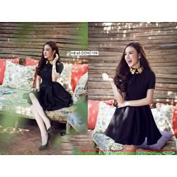 Đầm xòe đen tay con thiết kế cổ sen dễ thương như Phương Trinh