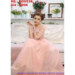 View  Đầm maxi dự tiệc hồng dễ thương lưới phối bông xinh đẹp
