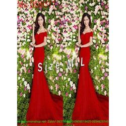Đầm maxi dự tiệc bẹt vai xòe màu đỏ sang trọng