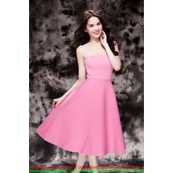 Đầm hồng xòe thiết kế cúp ngực xinh đẹp như Ngọc Trinh