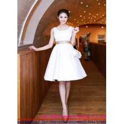 Đầm xòe đi tiệc sát nách trắng trẻ trung xinh như Linh chi