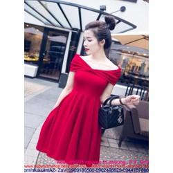 Đầm xòe bẹt vai ngang màu đỏ xinh đẹp sang trọng