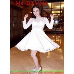 Đầm xòe công chúa trắng phối ren dễ thương xinh đẹp