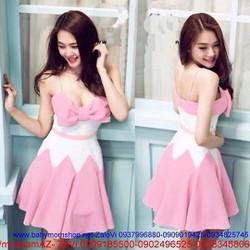 Đầm xòe 2 dây thiết kế gắn nơ xinh xắn phối hồng dễ thương