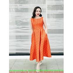 Đầm xòe vintage hình trái tin nổi bật xinh đẹp như phương trinh
