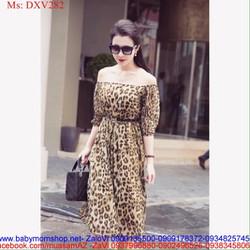 Đầm xòe bẹt vai dài tay họa tiết beo sành điệu thời trang