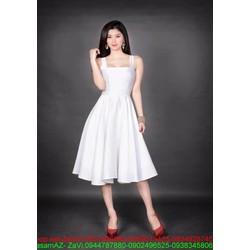 Đầm đi tiệc xòe màu trắng trẻ trung xinh đẹp
