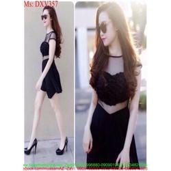 Đầm xòe đen phối lưới ren sành điệu thời trang