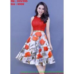 Đầm xòe dự tiệc cổ yếm ren đỏ phối váy hoa xinh đẹp DXV395