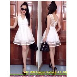 Đầm xòe dự tiệc trắng phối lưới trẻ trung xinh đẹp
