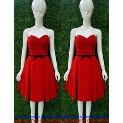 Đầm xòe đỏ cúp ngực phối nơ đen nổi bật giành cho bạn gái