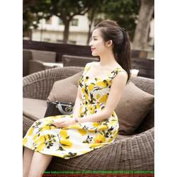 Đầm xòe dự tiệc hoa chanh vàng xinh đẹp và nổi bật