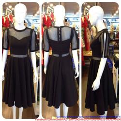 Đầm xòe đen dự tiệc thiết kế phối lưới sang trọng như ngọc trinh