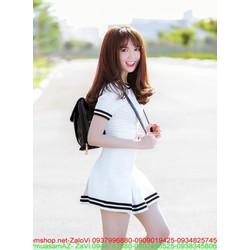 Đầm thời trang màu trắng phối viền đen rất xinh đẹp xì teen