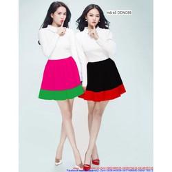 Đầm xòe tay dài thiết kế phối màu sang trọng như Ngọc Trinh