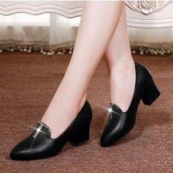 Giày gót vuông nữ da đính đá cao cấp - LN1397