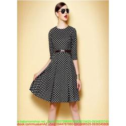 Đầm công sở dài tay xòe xinh đẹp chấm bi sành điệu