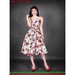 Đầm xòe 2 dây họa tiết hoa loang màu nổi bật