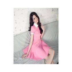 Đầm xòe hồng tay con cổ trắng thiết kế trẻ trung như Ngọc Trinh