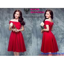 Đầm xòe dự tiệc thiết kế vai ngang dễ thương màu đỏ nổi bật