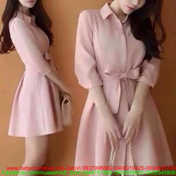 Đầm xòe hồng có cột dây cổ áo sơ mi thời trang đi tiệc
