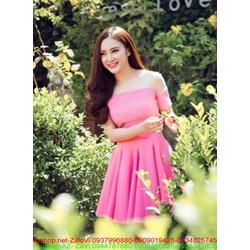 Đầm hồng xòe xếp ly phồi lưới thời trang xinh như Phương trinh