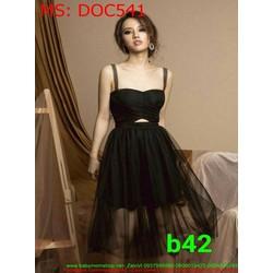Đầm ôm dự tiệc cúp ngang phối lưới sành điệu DOC541